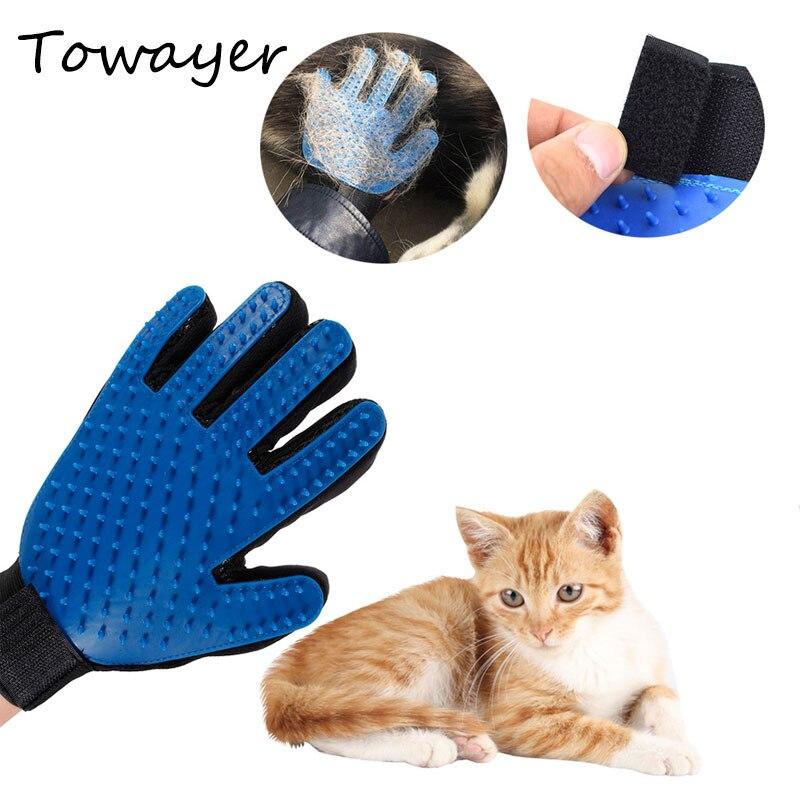 Стрижка кошек и собак щетка для очистки перчатки эффективный Deshedding массаж спины животное Купание удаление волос перчатки расчески для собак
