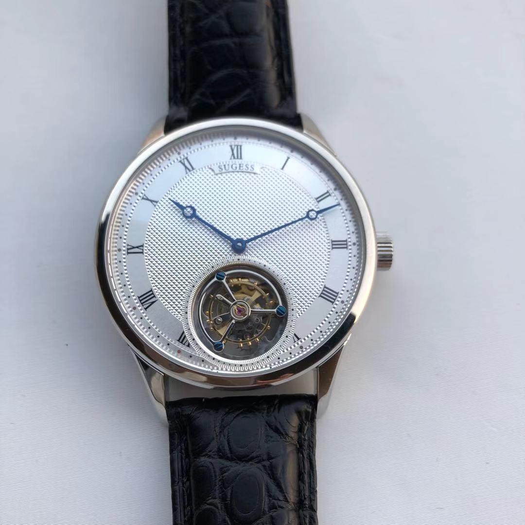 SUGESS توربيون ساعة النورس ST8230 حركة كرونوغراف ساعة اليد 50 متر مقاوم للماء ساعة ميكانيكية للرجال الفاخرة عادية