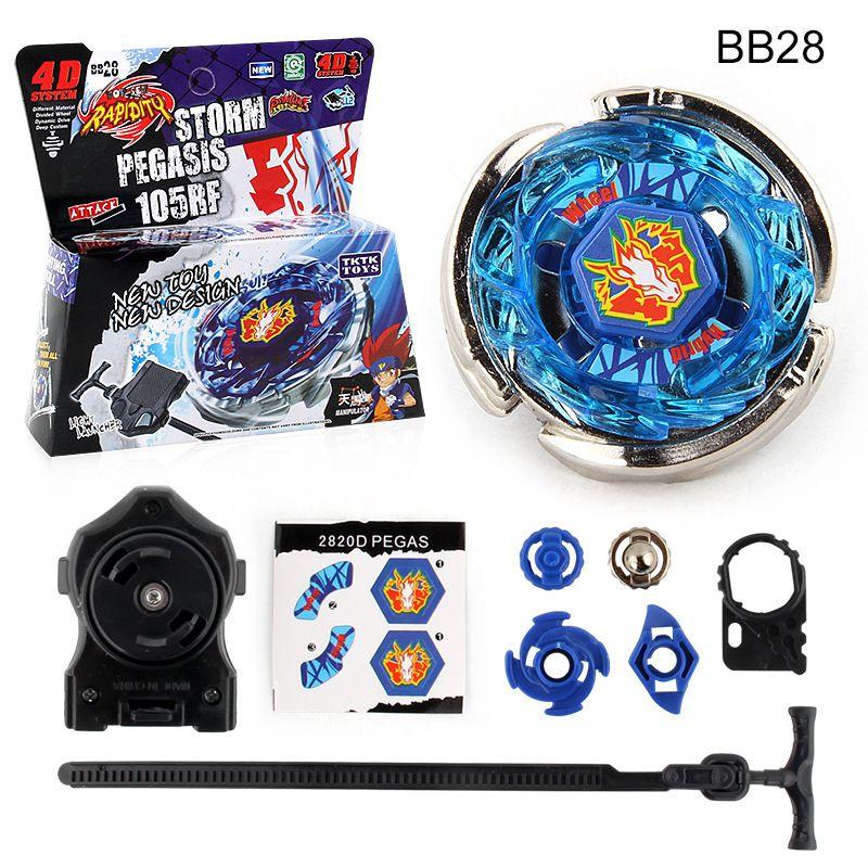 Explosão BB-28 topo de giro tempestade pegasus batalha metal 4d com lançador juguetes sparking toupie giroscópio brinquedos para crianças meninos