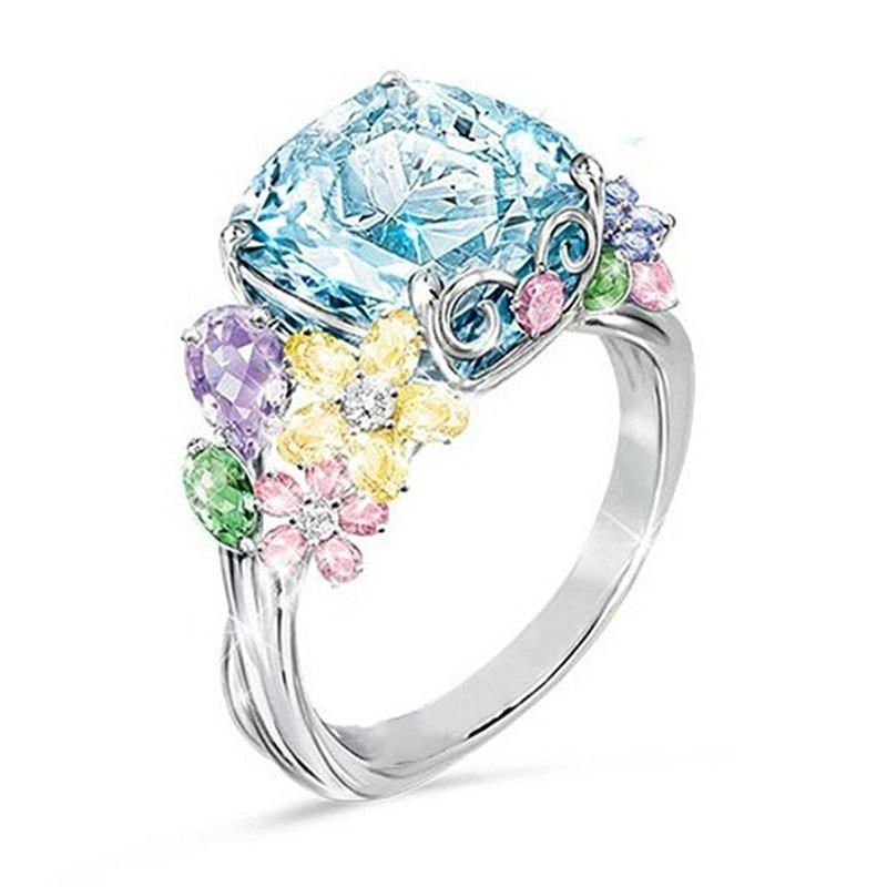 USTAR Cristais Coloridos Anéis de Flores para as mulheres novas Jóias Cubic Zirconia Anéis de casamento do Dedo Anel Feminino