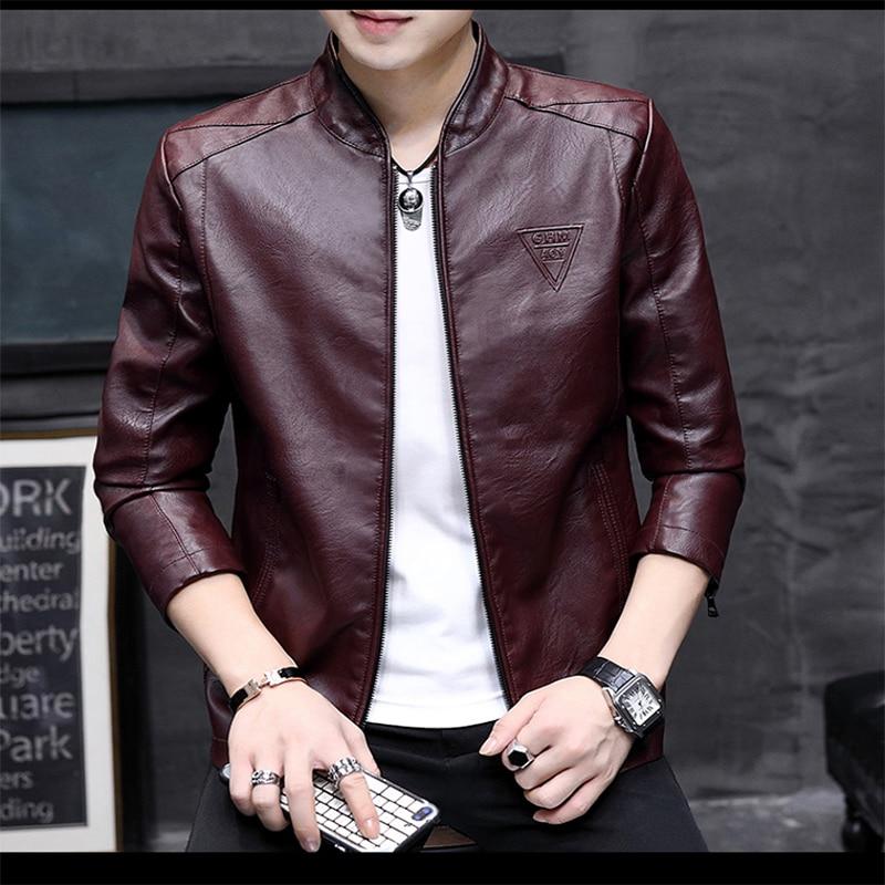 New-chaqueta de cuero para hombre, Casaca masculina de moda de Primavera de...
