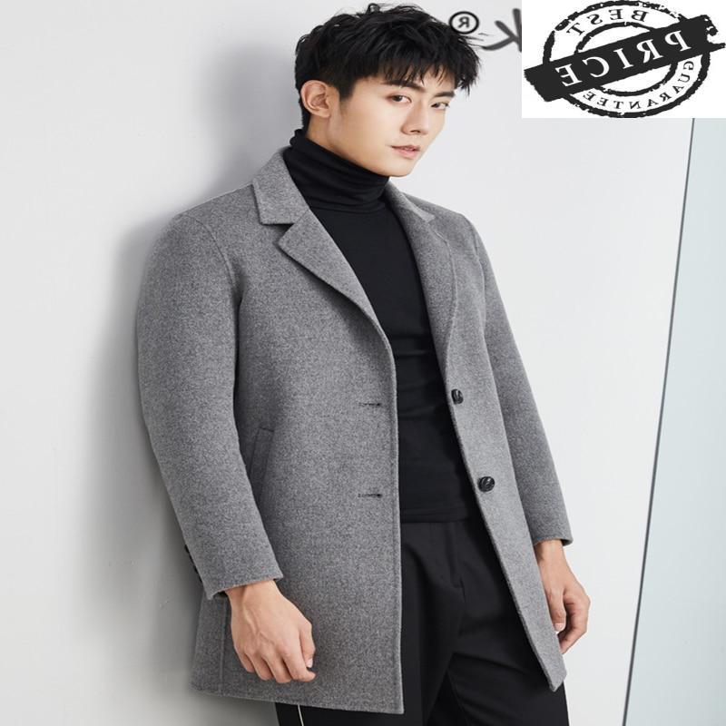 Abrigo de lana de 100% para Hombre, Chaqueta larga coreana a la...