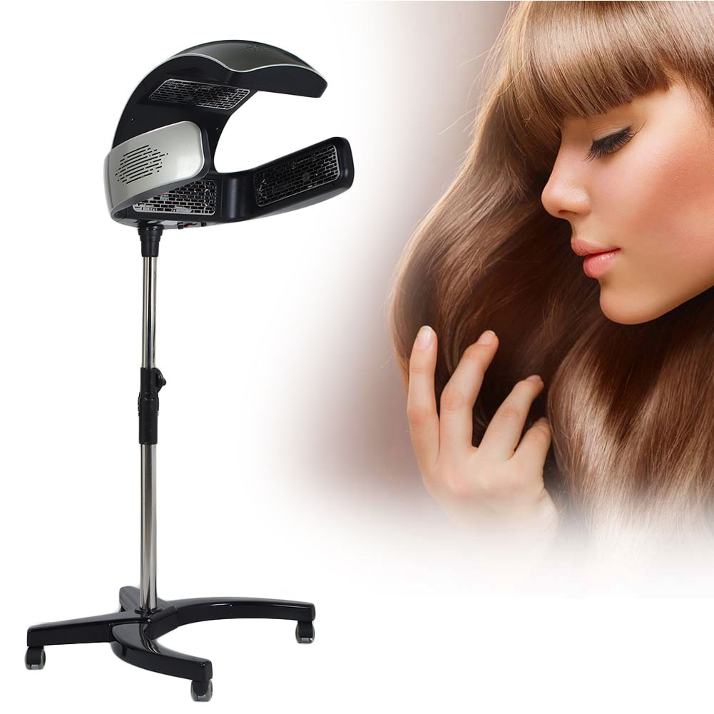 Hairdressing Supplie Rolling Floor Stand Salon Hooded Hair Steamer Heater Dyeing Perming Oil Treatment Machine Hairdressing Tool
