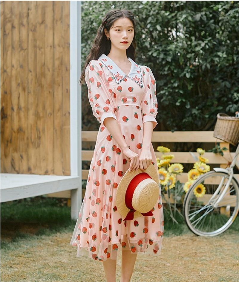 2020 verano pista taladro caliente vestido con fresas mujeres dulce media manga cuello Peter pan de malla pura vacaciones patchwork Rosa vestido