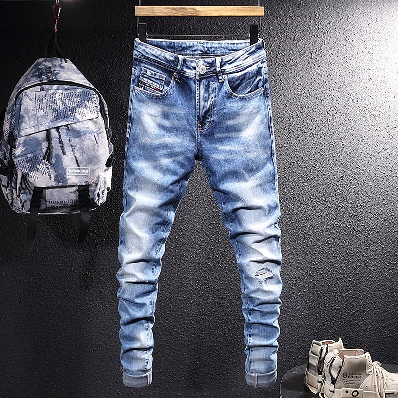 Новые винтажные модные мужские джинсы в стиле ретро светло-голубые Эластичные зауженные рваные джинсы мужские дизайнерские повседневные П...