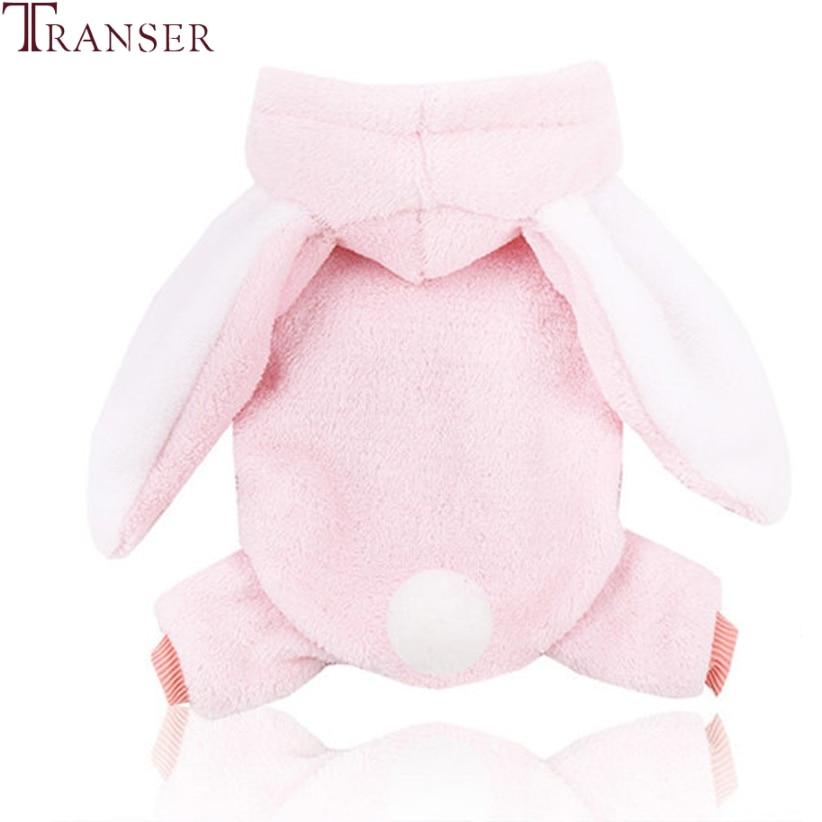 Transer Pink Dog Jumpsuit Winter Warm Dog Clothes Cute Long Rabbit Ear Hoodie Pet Coat Soft Sleece Dog Pajamas Puppy Wear 910