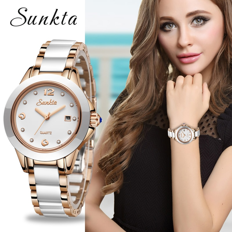 SUNKTA Fashion Watch Women Rose Gold Diamond Ladies Relogio Feminino Top Brand Luxury Waterproof Quartz Watches+Box