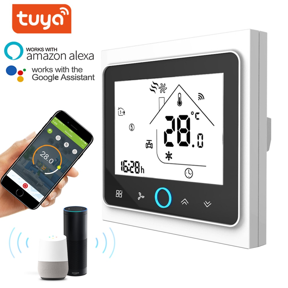 AliExpress - WiFi smart thermostat 2p/4p central air conditioning cooling/heating system for room temperature controller of fan coil Unit