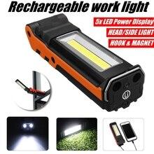 Usb recarregável cob led luz de trabalho pode ser escurecido lanterna lâmpada inspeção magnética com gancho power bank 2000 mah 18650 bateria