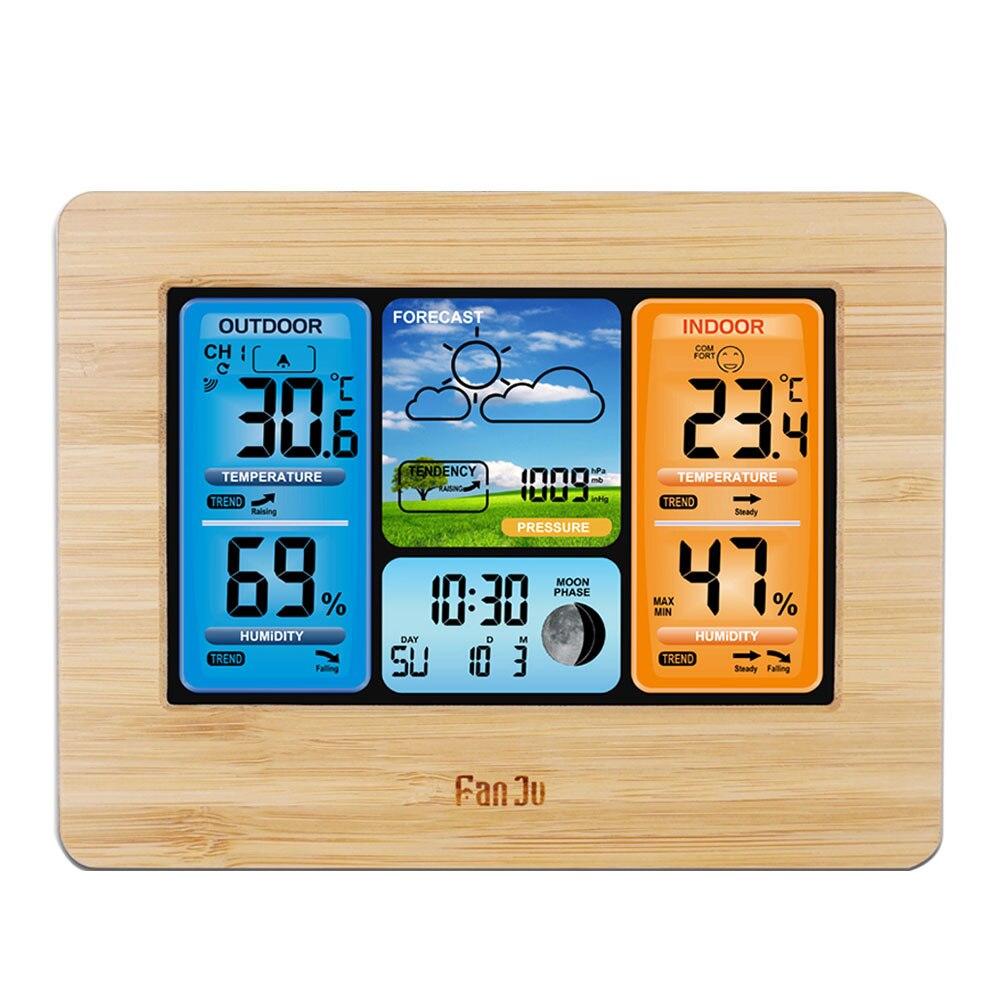 Fj3373 estação meteorológica termômetro digital higrômetro sensor de temperatura sem fio relógio mesa parede despertador