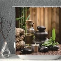 zen candle shower curtain green bamboo running water buddha polyester fabric waterproof bathroom screen home decor bath curtains