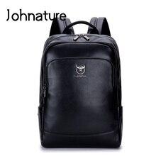 Johnature loisirs en cuir véritable grande capacité sac à dos pour ordinateur portable pour homme 2020 nouveau multifonction haute qualité sac dordinateur daffaires