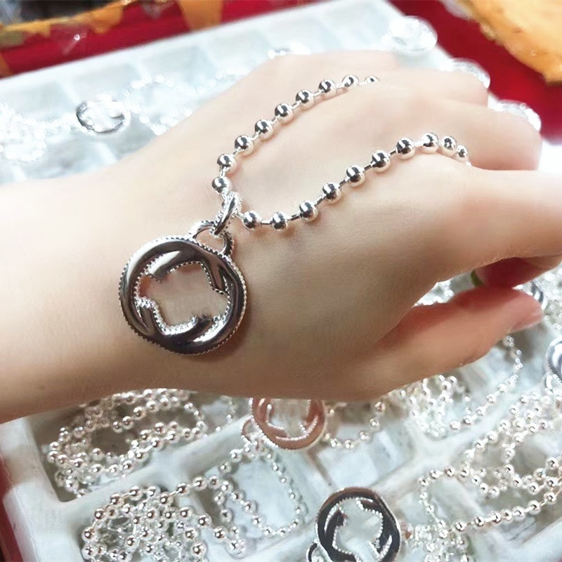 Luxury Original 1:1 925 Sterling Silver Logo Hot Fashion Jewelry Exclusive Sale Classic Beaded Bracelet For Women Valentine Gift