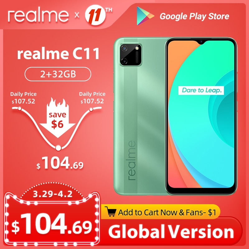 realme C11 Global Version 4G Mobile Phone 2GB 32GB G35 5000mAh Battery 6.5inch Fullscreen Helio G35 13MP Dual Camera 3 Card Slot