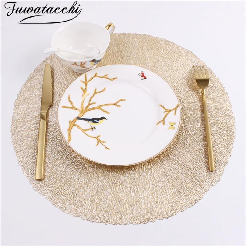Fuwatacchi planta de simulación de oro PVC taza mesa de café esteras mantel para mesa de comedor posavasos cocina decoración hogar alfombra posavasos
