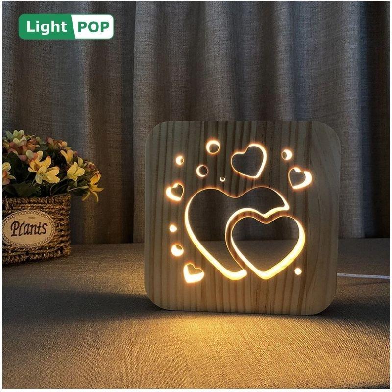 madeira criativa led night light nordic dia dos namorados dois coracoes criancas