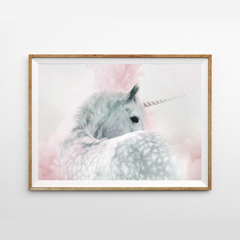 Decoración de dormitorio de niñas unicornio Impresión de arte de pared y póster rosa y gris Pastel lienzo bonito cuadro de pared