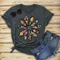 t shirt women flower print graphic tee kawaii top female clothes casual y2k vintage aesthetic streetwear peace sign floral shirt
