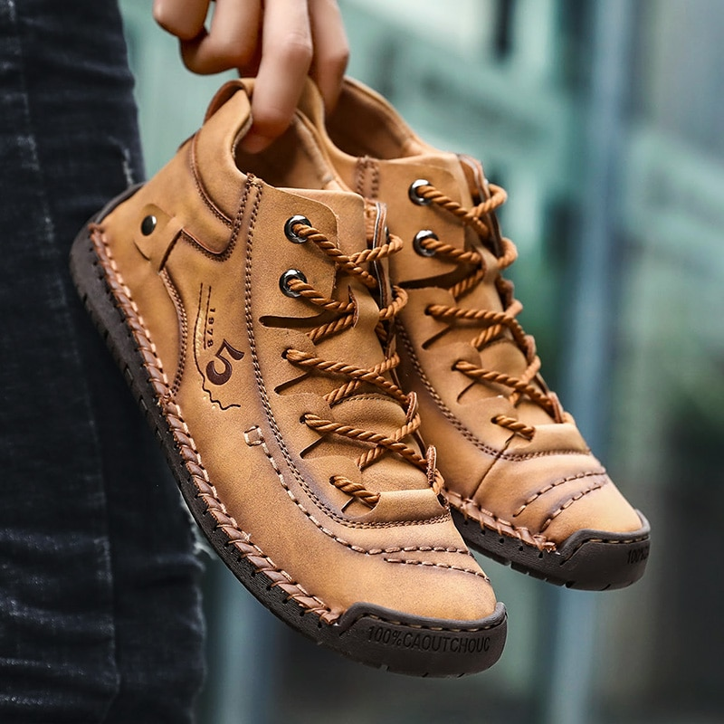 Fashion Men Leather Boots Men's Warm Fur Snow Boots Winter Shoes High Quality Split Leather Comfortable Ankle Men Warm Boots 48