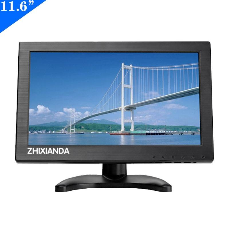 Zhixianda 11.6 polegada 1366*768 protable monitor com bnc hdmi av vga entrada usb para carro cctv dvr microscópio exibição