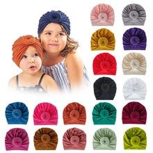 Fashion Mommy and Baby Cotton Round Ball Flower Hat Women Caps Girls Newborn Turban Knot Kids Adult Headwear Hair Accessories