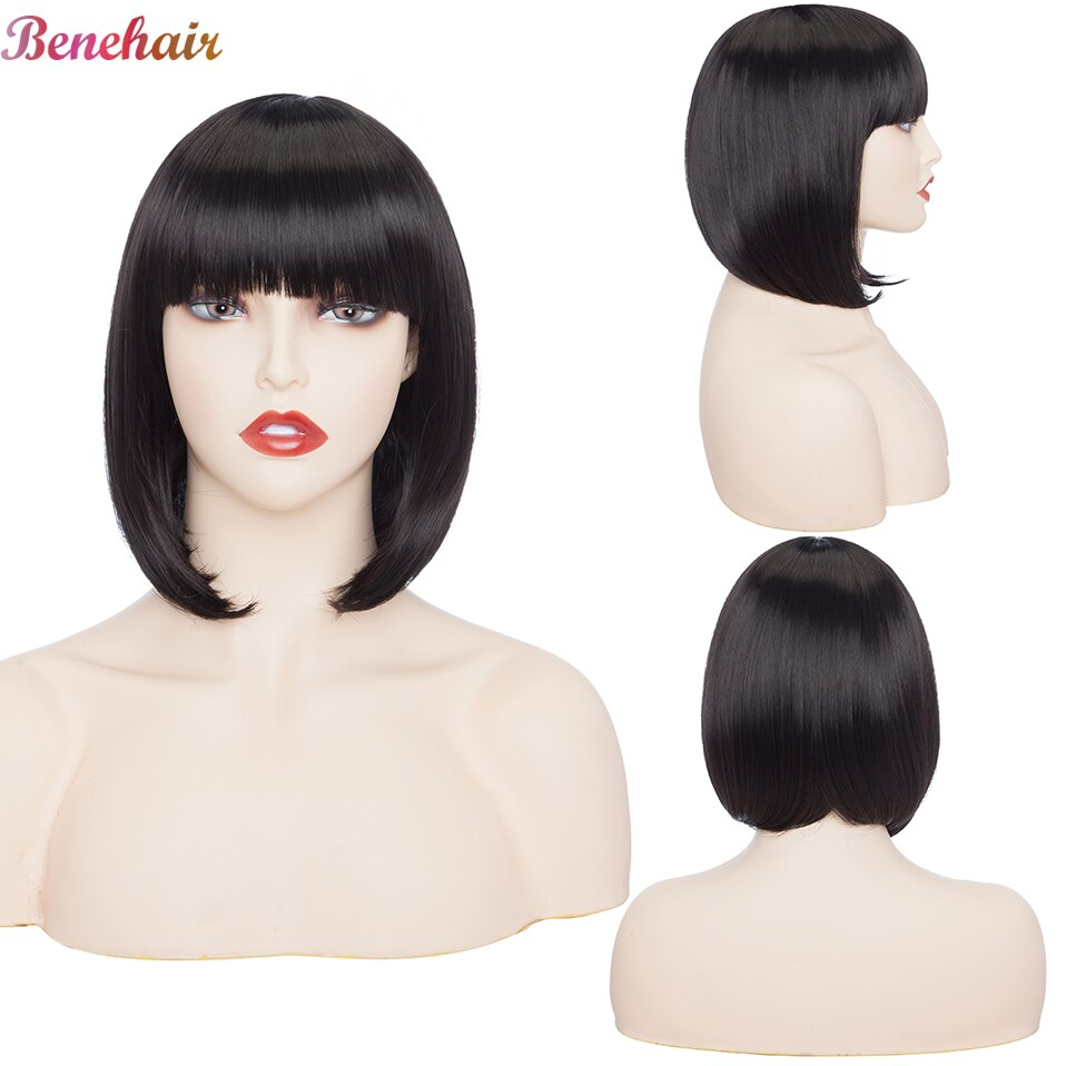 Benehair Straight Bob Wig With Bangs Synthetic Short Wigs for Women Cosplay Wig American Style Natural Black Pink Blue Hair Wig