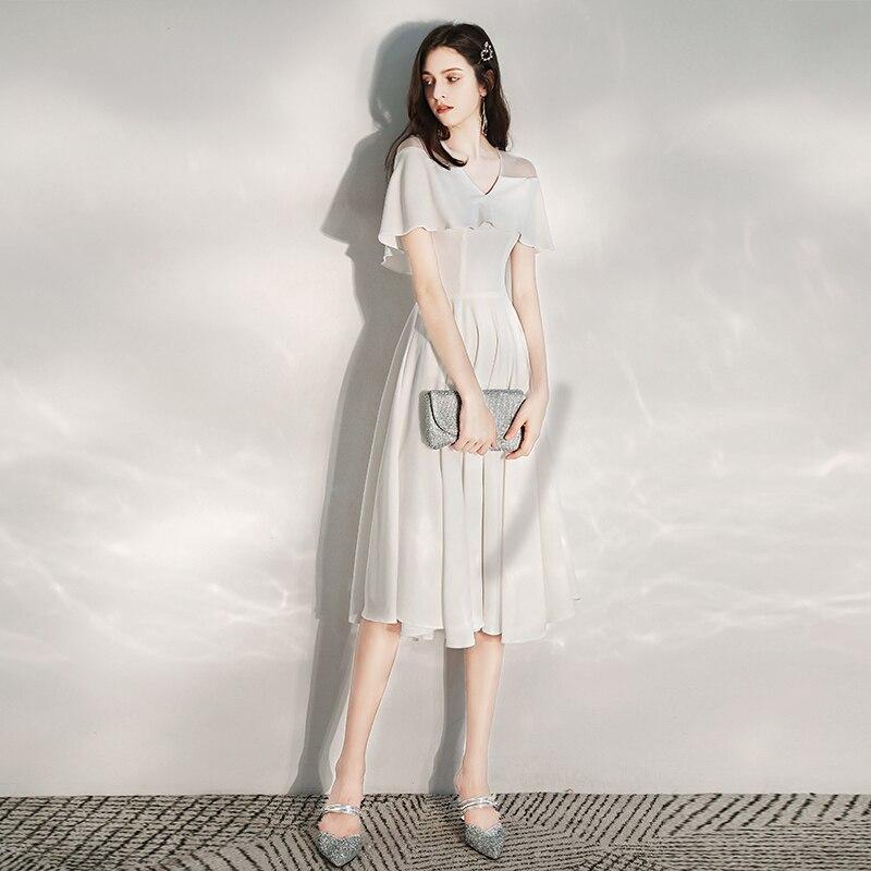 مناسبة خاصة فساتين خمر الخامس الرقبة قصيرة فاخرة الأبيض سستة ألف خط طول الركبة الساتان أنيقة موضة المرأة فستان حفلات E995