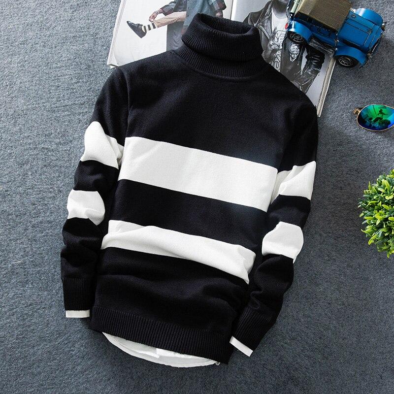 Мужской кашемировый пуловер, новинка 2019, модный тонкий свитер с высоким воротником, осенний мужской свитер, повседневный мужской свободный ...