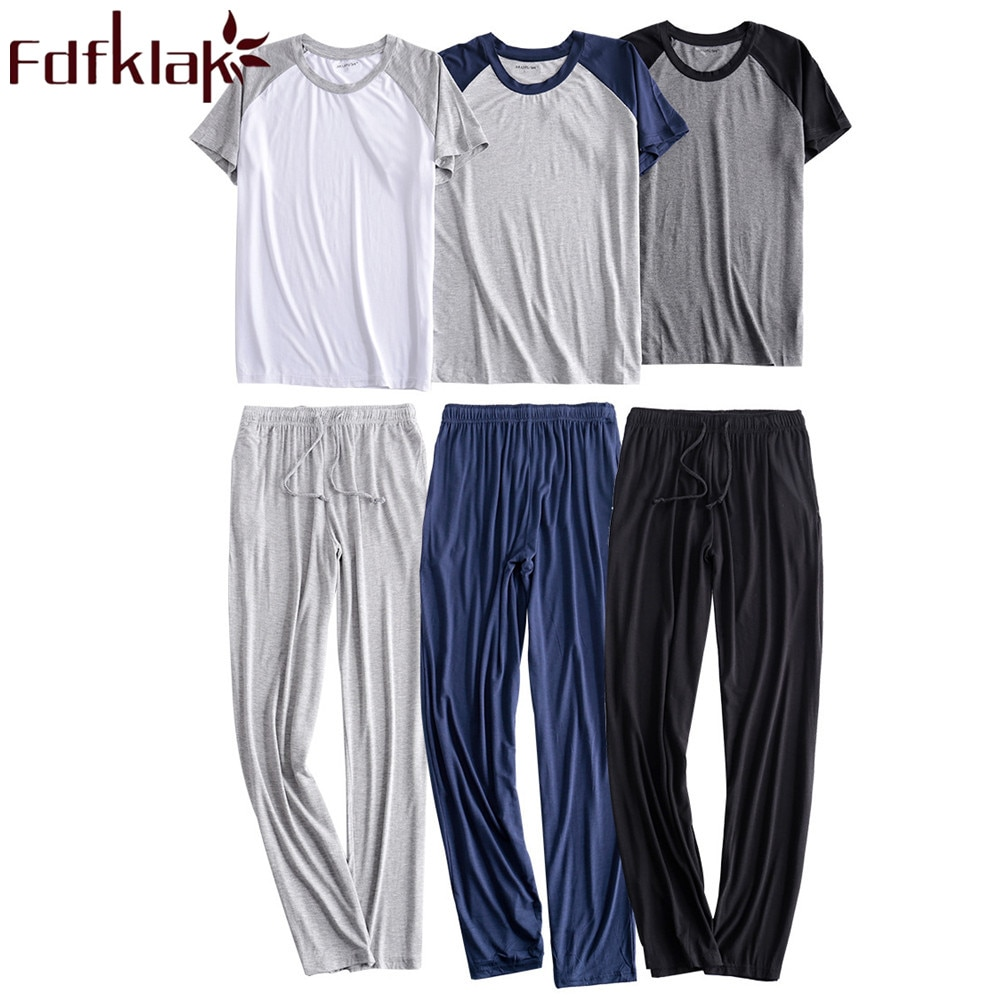 Fdfklak Men's Modal Pajamas Large 2PCS Sleepwear Short Sleeve Pajama Sets Casual Sleep&Lounge Pyjama