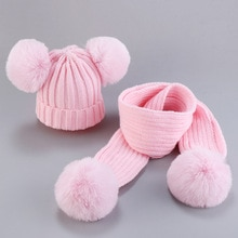 Winter hat scarf for children faux scorpion hair pompom ball baby knitting hats scarves set kids woo