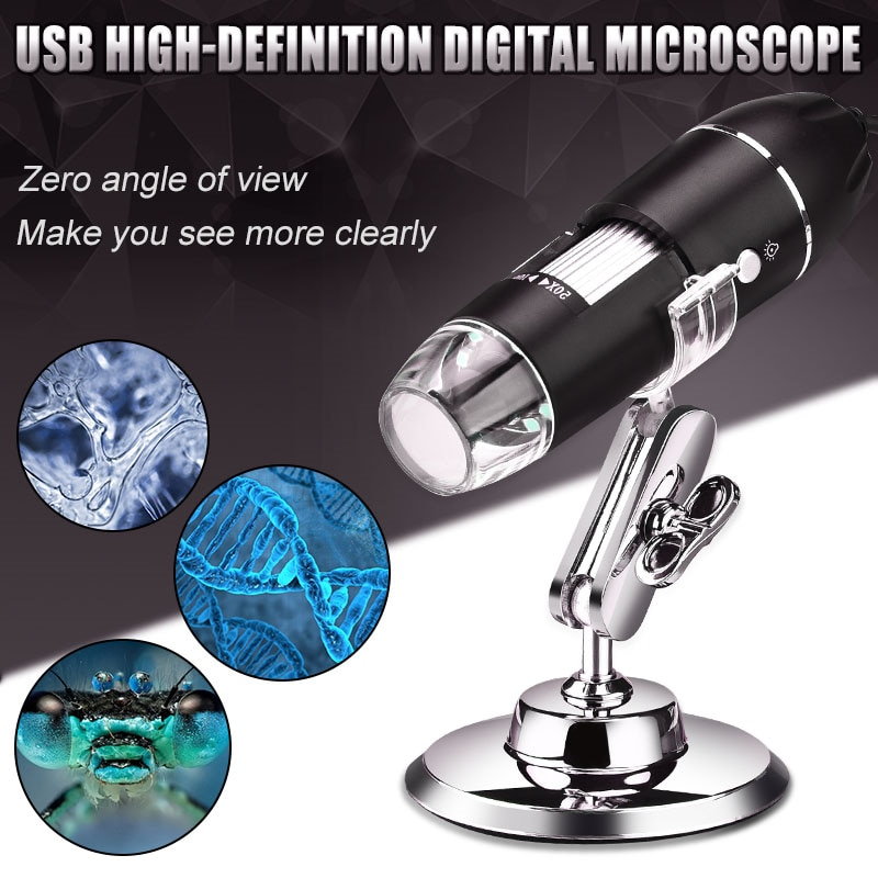 1x 500x digital usb microscope camera otg function true 5 0mp video camera 8led electronic zoom biology magnifier with holder 1600X 1080P Electronic Microscope USB Digital Microscope Stereo USB Camera Endoscope 8LED Magnifier Microscopio with Metal Stand