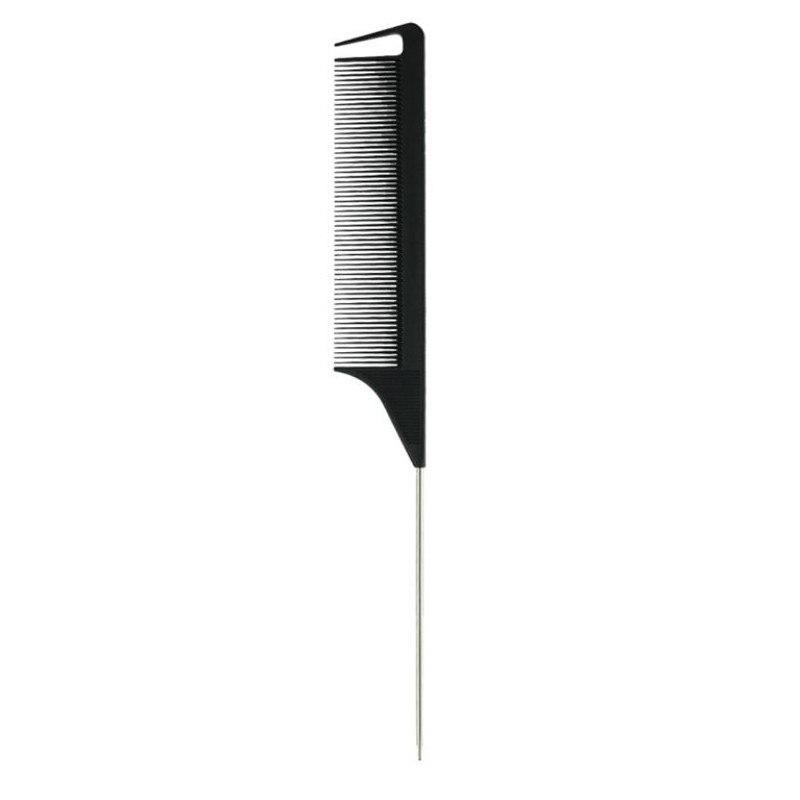 Модная черная Расческа с тонкими зубьями, металлическая шпилька, Антистатическая расческа для волос в стиле крысиного хвоста