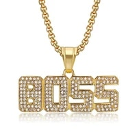 iced out bling letter boss pendant with chain stainless steel rhinestone ip gold color mens hip hop street jewelry dropshipping