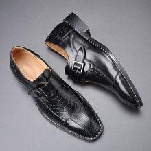 2020 affaires chaussures plates de luxe hommes robe de mariée chaussures Crocodile motif boucle créateur de mode Banquet chaussures grande taille 38-48