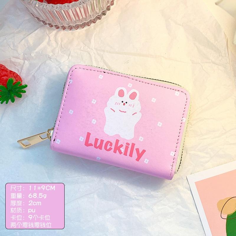 Cartoon Image Printing Girl Wallet Simple Folding Multi-card Card Holder Cute Creative Short Card Holder ID Bag 2021 New