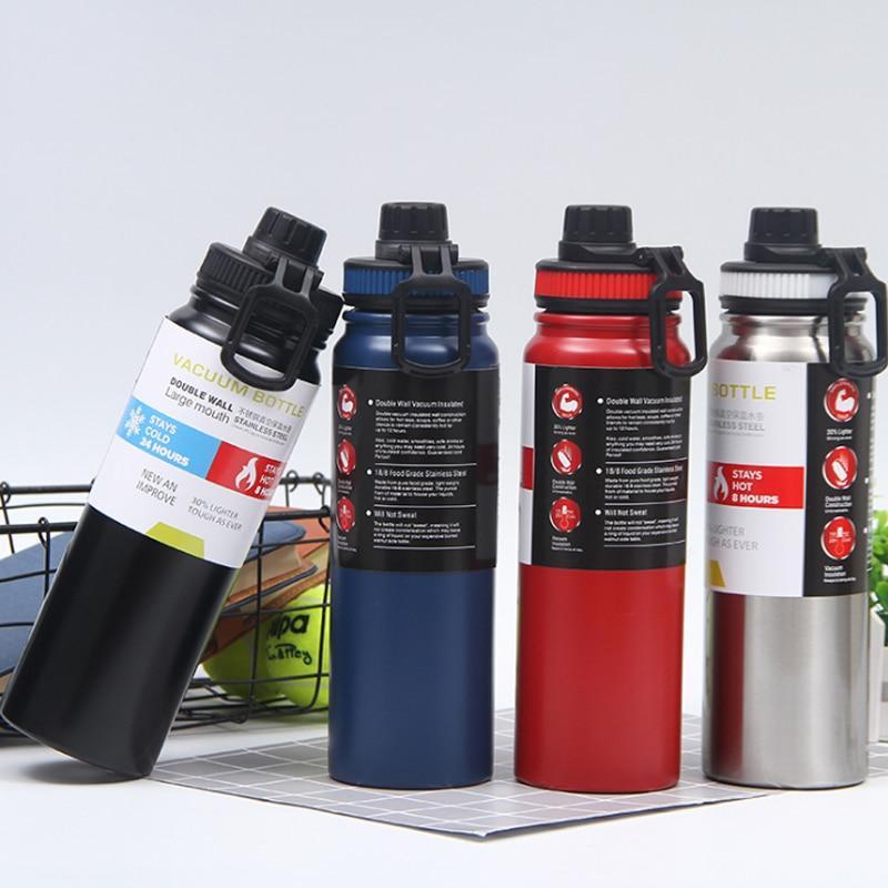 800ml/600ml portátil de agua de acero inoxidable botella para ciclismo y Camping botellas de agua fría caliente botella de vacío aislado frasco