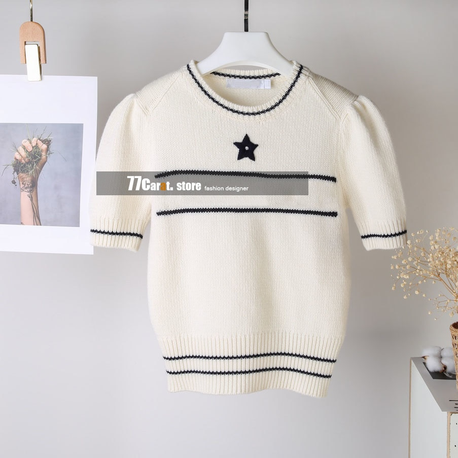2021 new style woman sweaters fashion luxury letters jacquard logo designer short sleeve o neck sweater women pullover jumpers enlarge