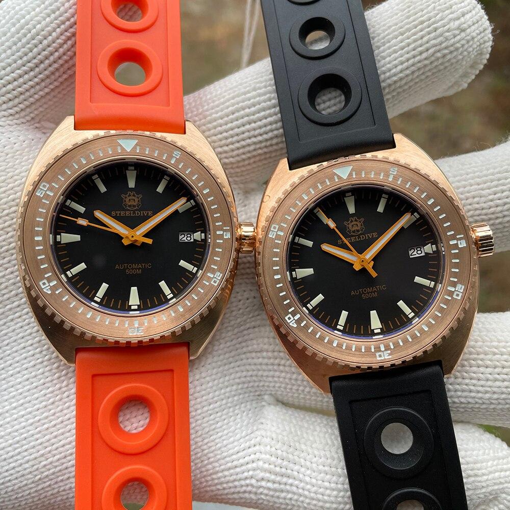 Resistente à Água Automático de Cristal Safira do Vintage Steeldive Bronze Relógio Diver 500m Nh35a Mecânico Mostrador Luminoso 1973s