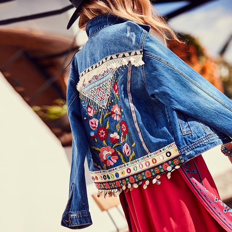Jeans Chaquetas Mujer 2020 Boho Denim chaqueta borla rebordear Floral bordado lazo Patchwork Top Vintage manga larga India Folk