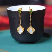 natural hetian white jade clover earrings chinese style retro designer unique antique gold craft charm ladies silver jewelry