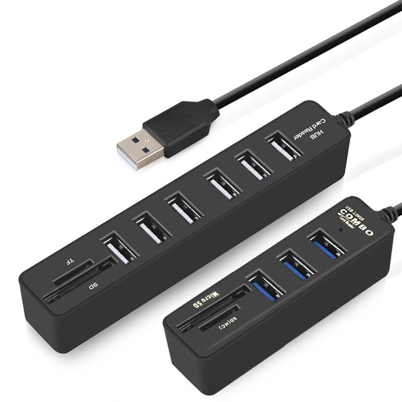 IMice HUB USB 3,0 Multi USB 3,0 HUB Splitter Puerto 3/6 múltiples USB Hab lector de tarjeta SD de alta velocidad Usb Combo para ordenador portátil