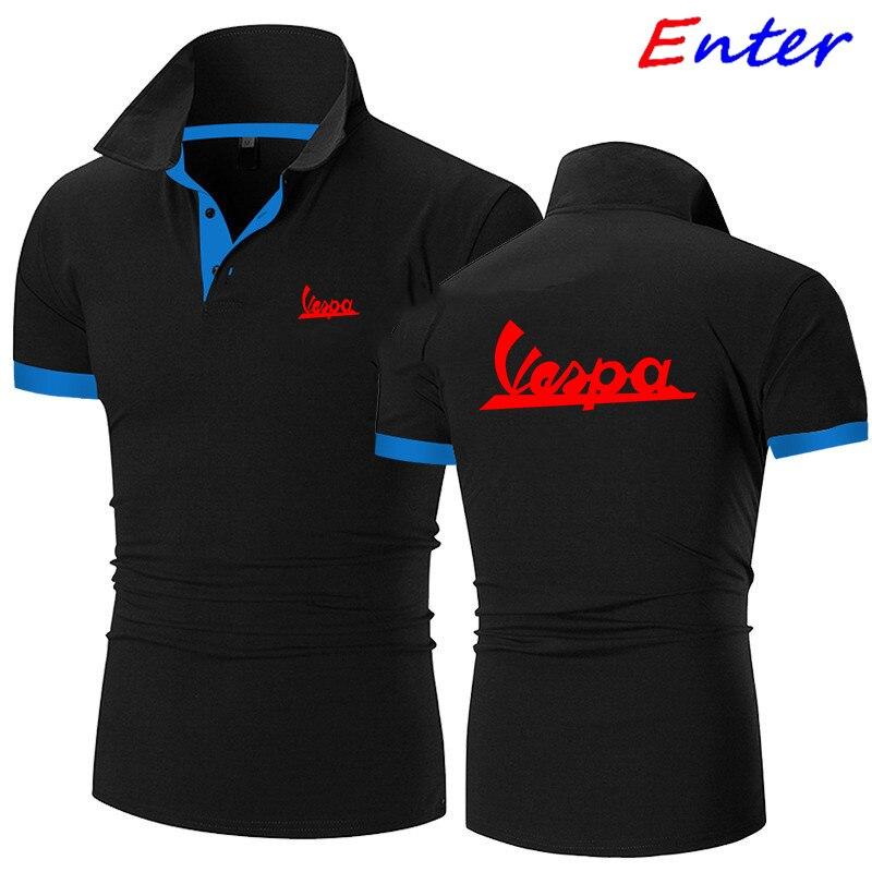Рубашка-поло 2 ~ мужская летняя эластичная рубашка-поло с логотипом автомобиля Vespa мужской костюм-поло с короткими рукавами Высококачествен...