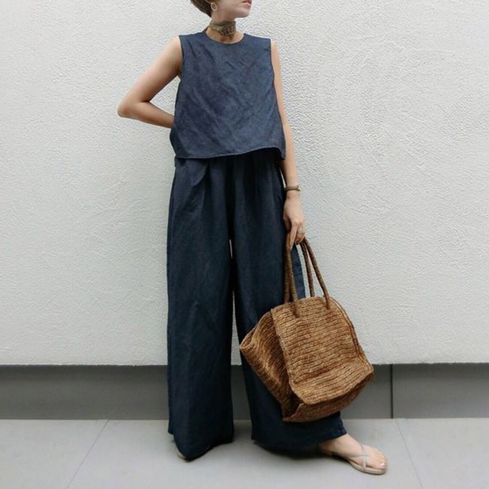 Women Clothes Sets Japanese Style Korean  Loose Pullover Round Neck Sleeveless Simple Wide Legs Soli