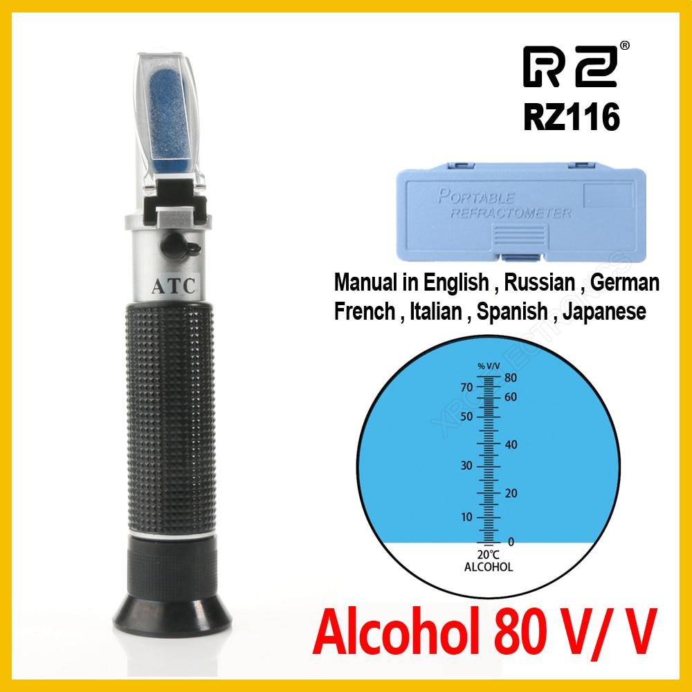 Refratômetro Álcool Alcoholômetro Medidor 0 80% v – Atc Handheld Ferramenta Hidratômetro Concentração Espíritos Tester rz