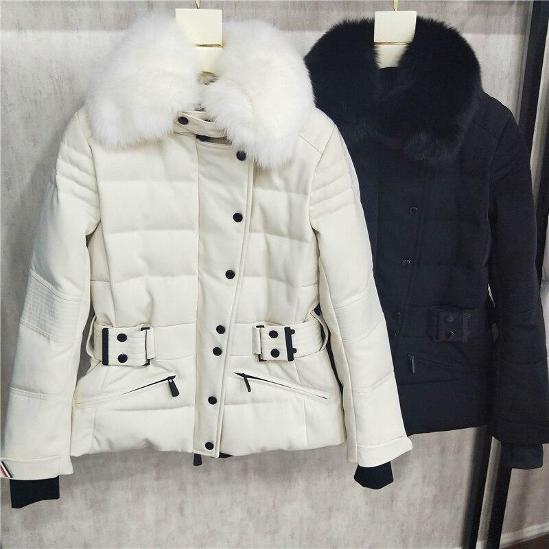 ¡Nuevo estilo! Abrigos de piel auténtica de zorro de alta calidad, chaqueta de esquí para exteriores, chaquetas de plumón de color blanco y negro