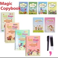 4 PCS Magic Practice CopyBook Free Wiping Childrens Toy Writing Sticker English Copybook For Childrens Learning Toys