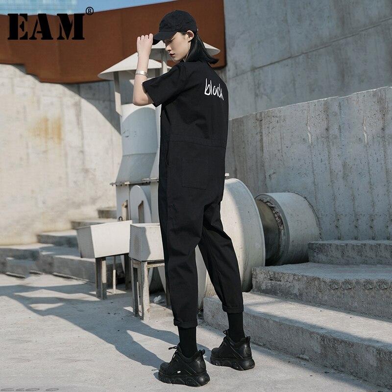 [EAM] Loose Fit mujer letra estampada negra mono con pernera ancha nuevos pantalones de cintura alta bolsillo moda marea Primavera Verano 2020 1W045