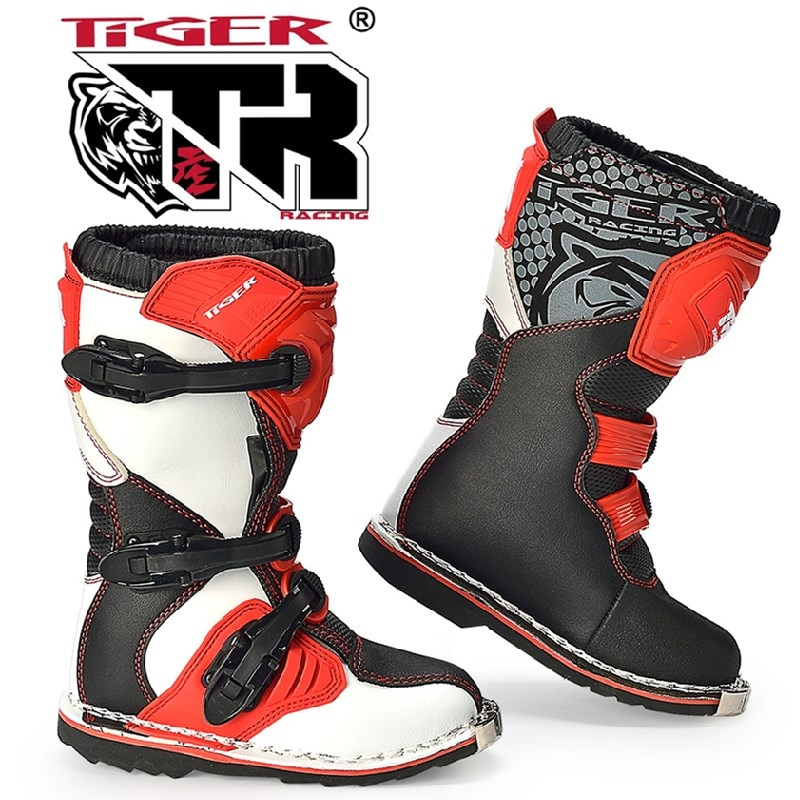 TR النمر الأحذية الطفل قبالة الطريق الأحذية المهنية الدراجات البخارية الأحذية عالية الصف حماية تصميم طفل الأحذية TR-TE002