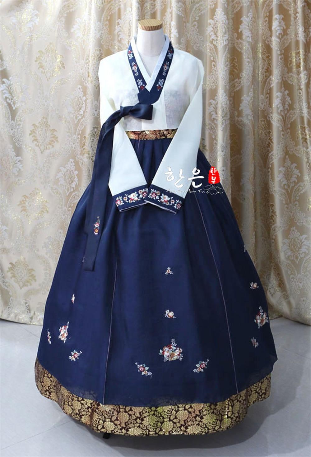 فستان حريمي كوري من الهانبوك فستان رقص عرقي تقليدي كم طويل تأثيري شحن مجاني مطرز
