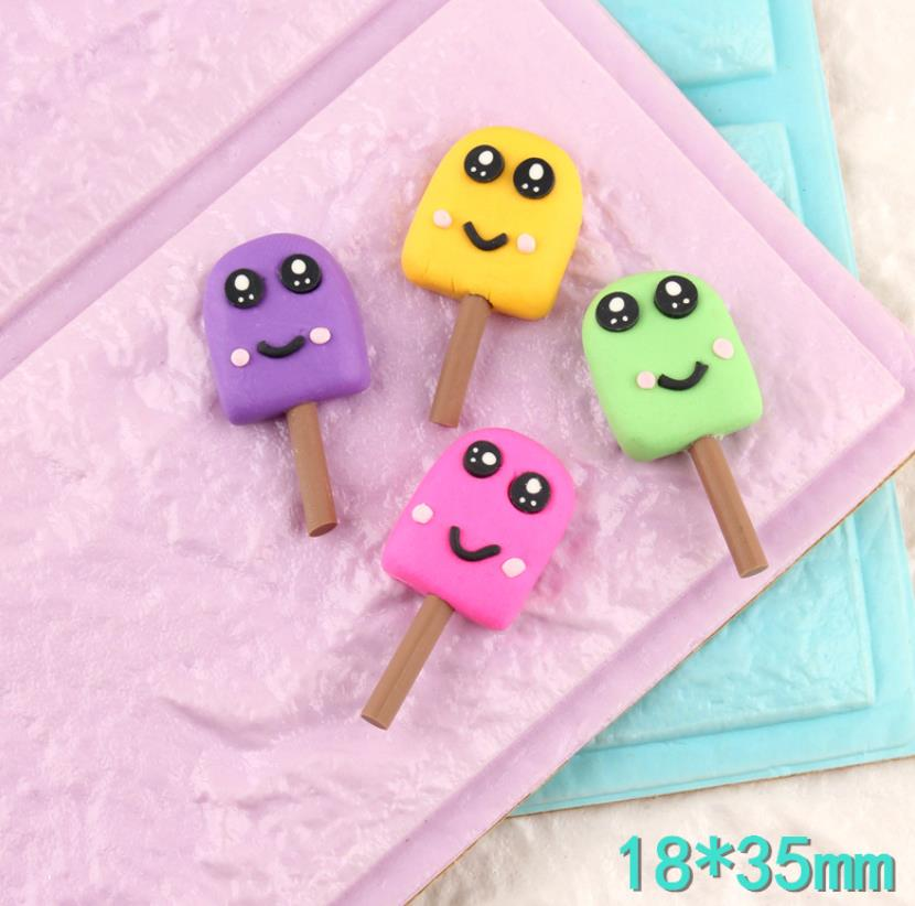 Atacado kawaii artesanal argila de polímero sorridente rosto sorvete resina cabochão para scrapbooking diy artesanato acessórios
